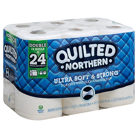Quilted Northern Bathroom Tissue Ultra Soft & Strong Double Roll 2 Ply White - 12 Roll