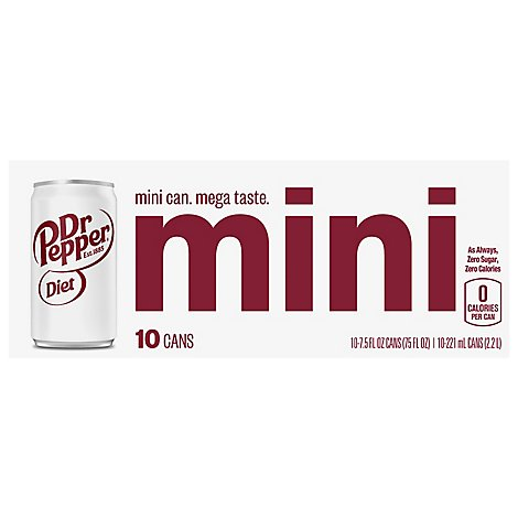 Dr Pepper Soda Diet Mini Cans Box - 10-7.5 Fl. Oz.