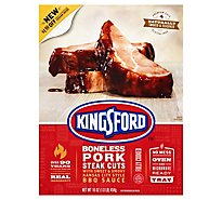 Kingsford Boneless Pork Steak Cuts With Kansas City Style Bbq Sa - 1 Lb