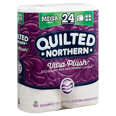 Quilted Northern Ultra Plush Bathroom Tissue Mega Rolls 3 Ply Unscented - 6 Roll