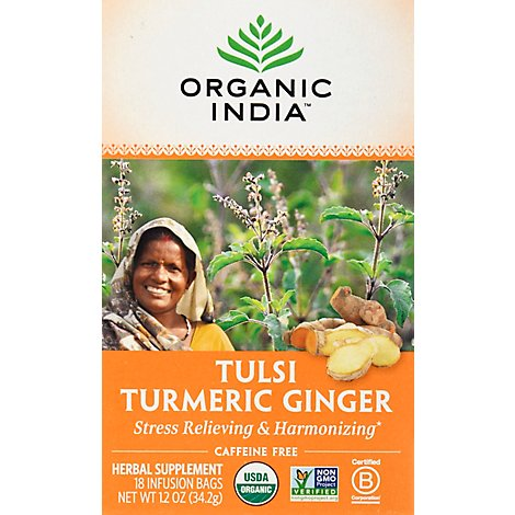 Organic India Tea Turmeric Ginger - 18 Count