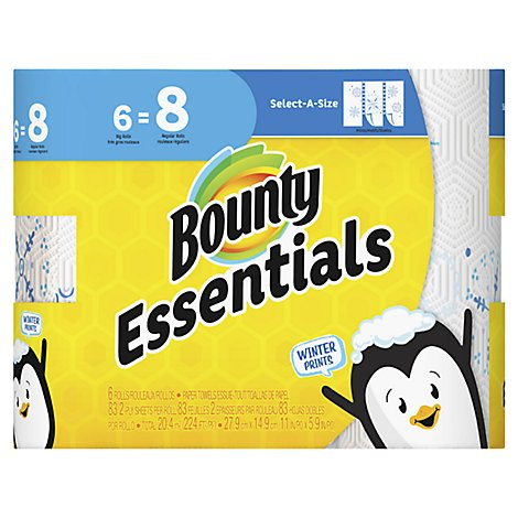Bounty Essentials Paper Towels Select-A-Size Big Rolls 2-Ply Spring Prints Wrapper - 6 Roll