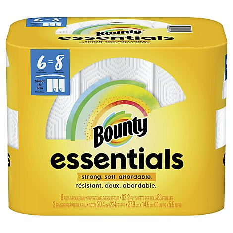 Bounty Essentials Paper Towels Select A Size Big Rolls White - 6 Roll