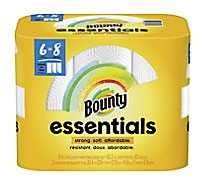 Bounty Essentials Paper Towels Select-A-Size Big Rolls 2-Ply White Wrapper - 6 Roll