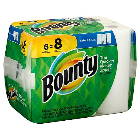 Bounty Paper Towels Big Rolls 2 Ply White Select A Size - 6 Roll