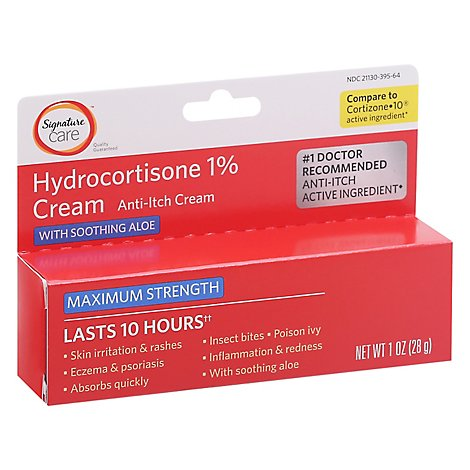 Signature Care Cream Anti Itch Hydrocortisone 1% With Healing Aloe Maximum Strength - 1 Oz