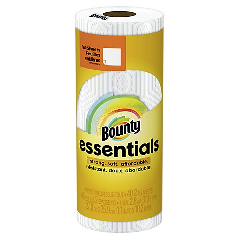 Bounty Essentials Paper Towels Full Sheets Regular Rolls 2-Ply White Wrapper - 1 Roll