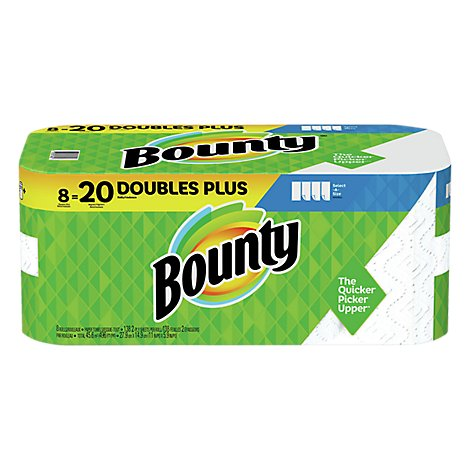 Bounty Paper Towel Select A Size Double Plus Rolls 2 Ply Sheets White - 8 Roll