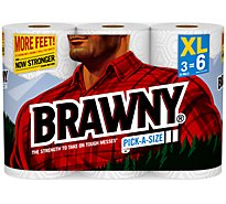 Brawny Paper Towels Pick-A-Size XL Roll 2-Ply Wrapper - 3 Roll