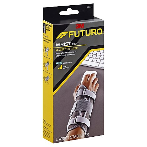 Futuro Adjustable Deluxe Right Hand Wrist Stabilizer Grey - Each