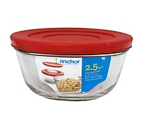 Anchor Hocking Mixing Bowl W/ Lid Red 2.5qt - Each