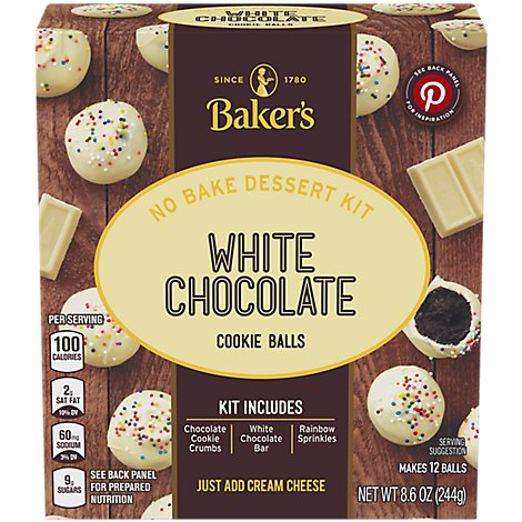Bakers Cookie Balls White Chocolate - 8.6 Oz