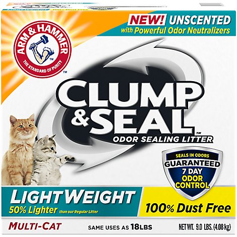 ARM & HAMMER Cat Litter Clump & Seal Odor Sealing Light Weight Multi-Cat Unscented Box - 9 Lb