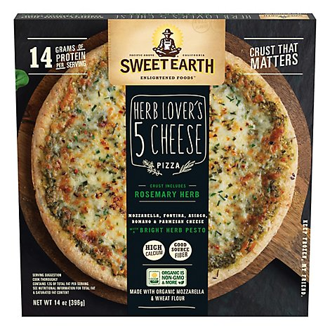 Sweet Earth Pizza Herb Lovers 4-Cheese Frozen - 14 Oz