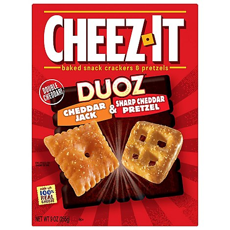 Cheez-It Baked Snack Cheese Crackers and Pretzels Cheddar Jack & Sharp Cheddar Pretzel - 9 Oz