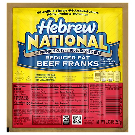 Hebrew National Reduced Fat Beef Franks - 9.43 Oz