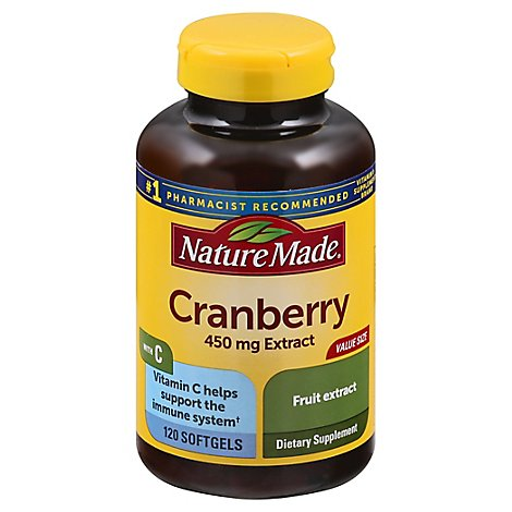 Nature Made Dietary Supplement Softgels Super Strength 450 Mg with Vit C Cranberry - 120 Count