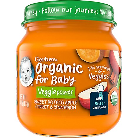 Gerber 2nd Foods Baby Food Organic Apple Sweet Potato Carrot Jar - 4 Oz