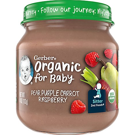 Gerber 2nd Foods Baby Food Organic Pear Purple Carrot Raspberry Jar - 4 Oz