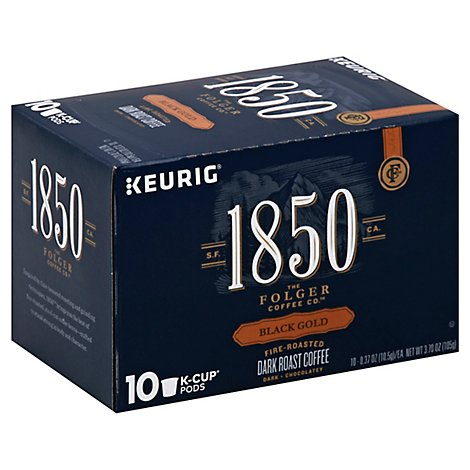 Folgers 1850 Coffee K-Cup Pods Dark Roast Black Gold Box - 10-0.37 Oz