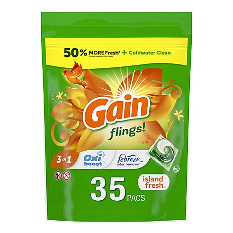 Gain flings! Liquid Laundry Detergent Pacs Island Fresh - 35 Count