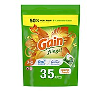 Gain Flings Laundry Detergent Liquid Pacs HE Compatible Island Fresh Scent - 35 Count