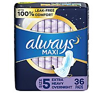 Always Maxi Size 5 Extra Heavy Overnight Pads With Wings Unscented - 36 Count