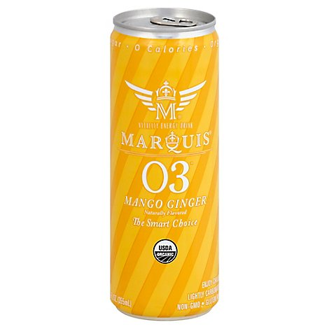Marquis Energy Drink Organic Mango Ginger Slim Can - 12 Fl. Oz.