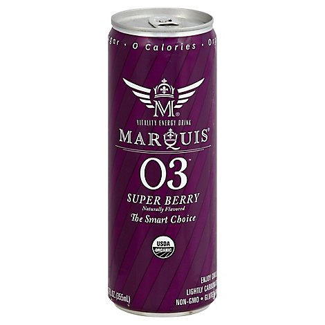 Marquis Energy Drink Organic Super Berry Slim Can - 12 Fl. Oz.