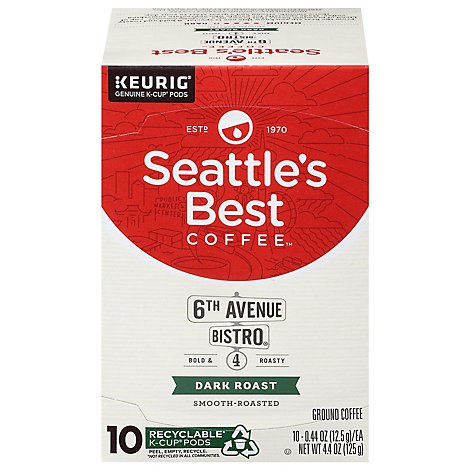 Seattles Best Coffee K-Cup Pods Dark Roast Smooth Roasted 6th Avenue Bistro Box - 10-0.44 Oz