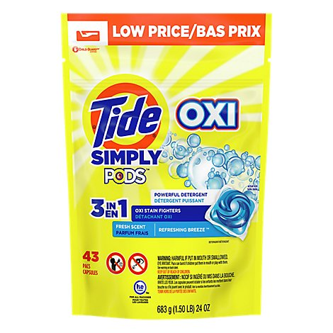 Tide Simply PODS Liquid Laundry Detergent Pacs Oxi Refreshing Breeze - 43 Count
