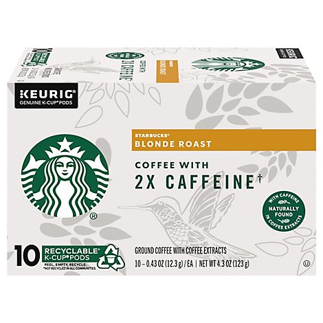 Starbucks Coffee K-Cup Pods Plus 2x Caffeine Blonde Roast Box - 10-0.43 Oz