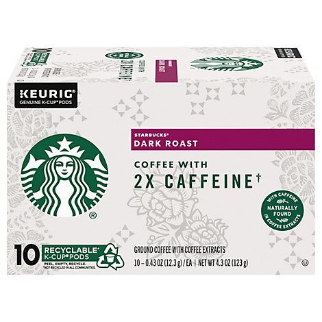 Starbucks Coffee K-Cup Pods Plus 2x Caffeine Dark Roast Box - 10-0.43 Oz