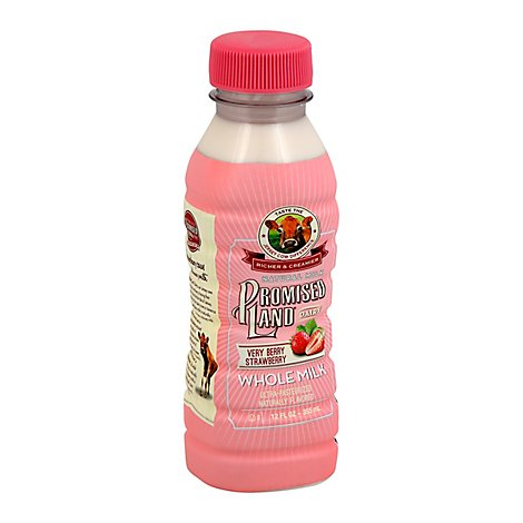 Promised Land Milk Whole Milk Very Berry Strawberry Bottle - 12 Fl. Oz.