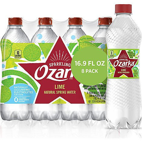 Ozarka Natural Spring Water Sparkling Zesty Lime - 8-16.9 Fl. Oz.