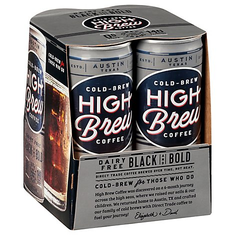 High Brew Coffee Cold-Brew 20 Calories Dairy Free Black & Bold Can - 4-8 Fl. Oz.