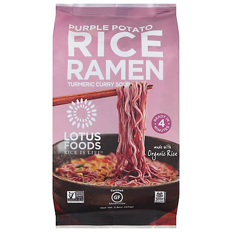 Lotus Foods Rice Ramen with Vegetable Broth Purple Potato & Brown Rice Pouch - 2.8 Oz
