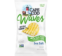 CAPE COD Waves Potato Chips Kettle Cooked Sea Salt 40% Reduced Fat Bag - 7.5 Oz