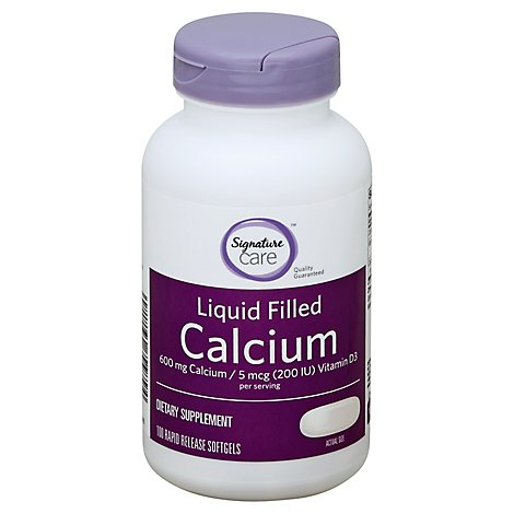 Signature Care Calcium Liquid Filled 600mg Vitamin D3 5mcg Dietary Supplement Softgel - 100 Count
