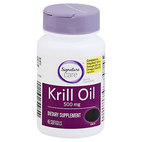 Signature Care Krill Oil 500mg Dietary Supplement Softgel - 45 Count