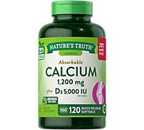Natures Truth Vitamins Softgels Absorbable Calcium 1200 Mg D3 5000 Iu Bottle - 120 Count