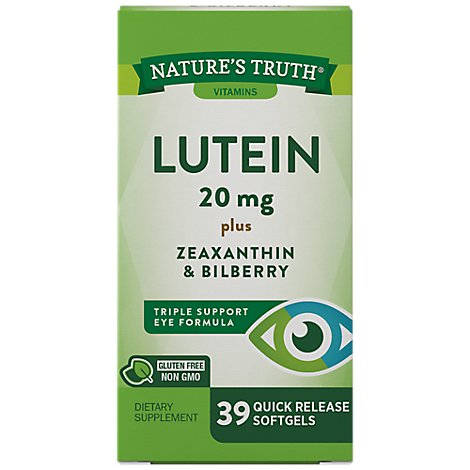 Natures Truth Vitamins Softgels Lutein 20 Mg Zeaxanthin & Bilberry Bottle - 39 Count