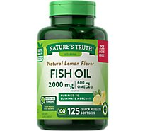 Natures Truth Vitamins Softgels Fish Oil Lemon Flavor 1000 Mg Bottle - 125 Count