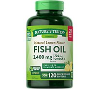 Natures Truth Vitamins Softgels Fish Oil Lemon Flavor 1200 Mg Bottle - 120 Count