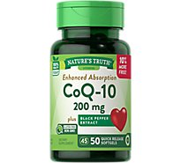 Natures Truth Vitamins Softgels Absorbable Co Q-10 Black Pepper Extract 200 Mg Bottle - 50 Count