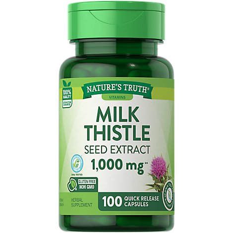 Natures Truth Vitamins Capsules Milk Thistle Seed Extract 1000 Mg Bottle - 100 Count