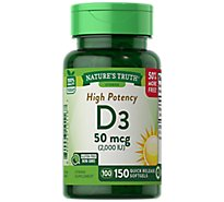 Natures Truth Vitamins Softgels D3 High Potency 2000 Iu Bottle - 150 Count