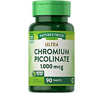 Natures Truth Vitamins Capsules Chromium Picolinate Ultra 1000 Mcg Bottle - 90 Count