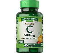 Natures Truth Vitamins Tablets Chewable Wild Rose Hips Orange Flavor 500 Mg Bottle - 60 Count