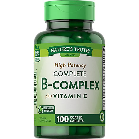Natures Truth Vitamins Caplets Coated B-Complex High Potency Complete Bottle - 100 Count